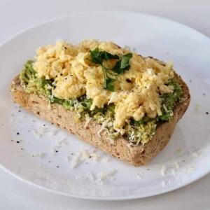 acocado and scrambled eggs on toast