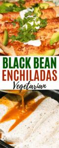 vegetarian black bean and cheese enchilada