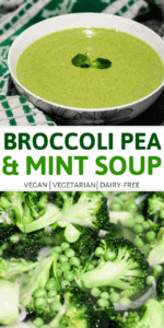 broccoli pea and mint soup pin