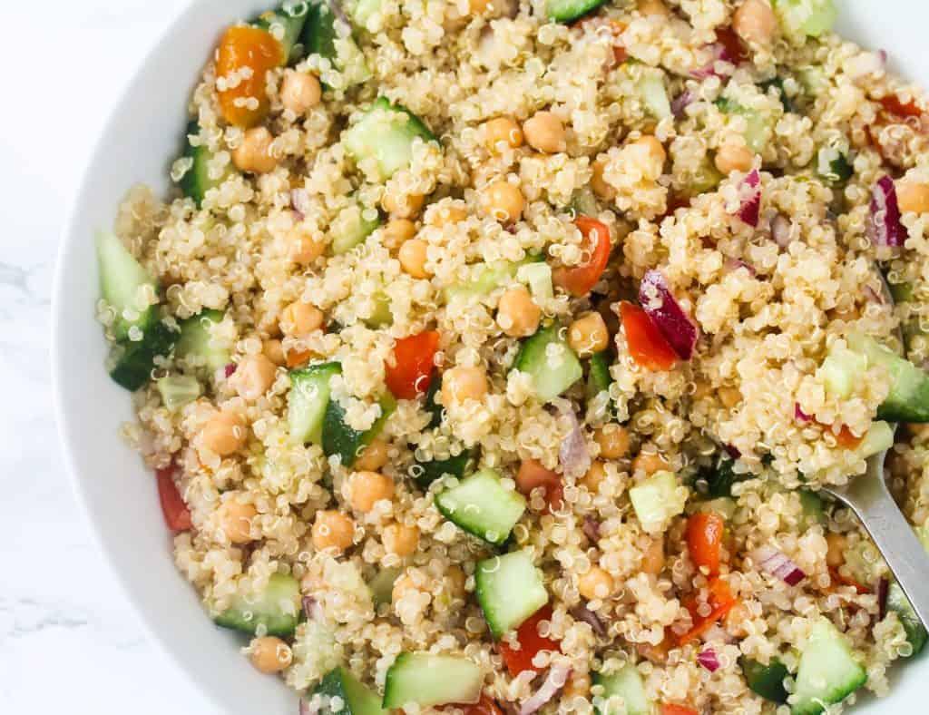vegan-quinoa-chickpea-salad a healthy lunch idea for meal prep