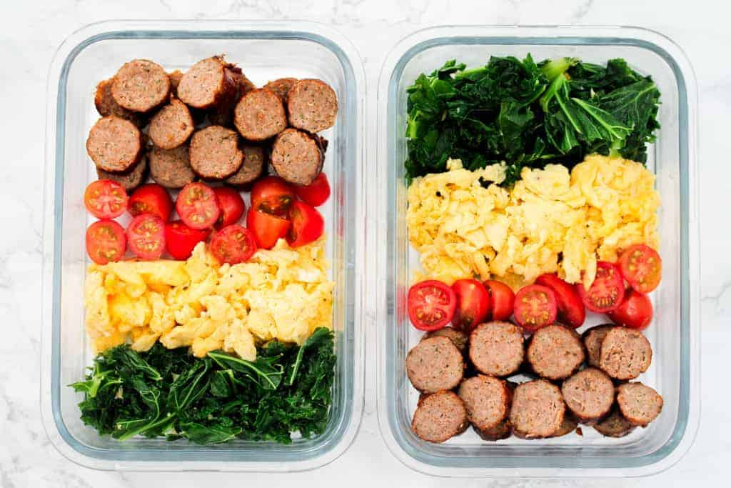 Scrambled-eggs-and-sausage-meal-prep for breakfast in glass containers