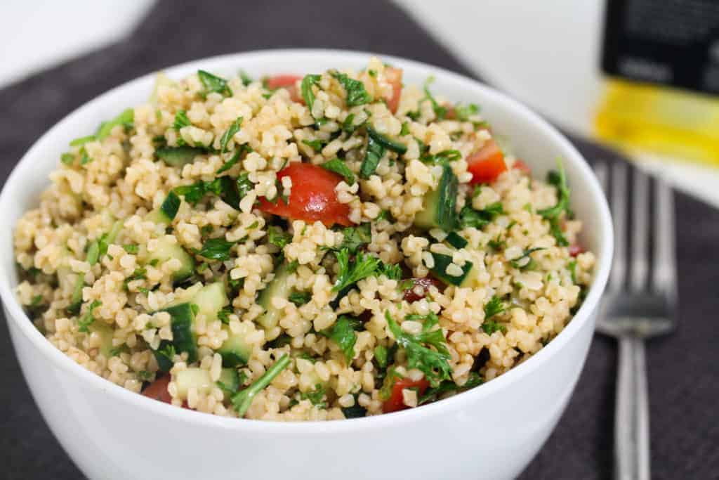 bulgur-wheat-cucumber-tomato-and-herb-salad a healthy lunch idea for meal prep