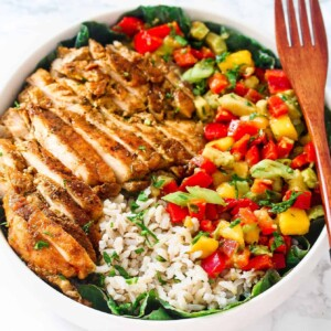 Cajun chicken with mango salsa and brown rice