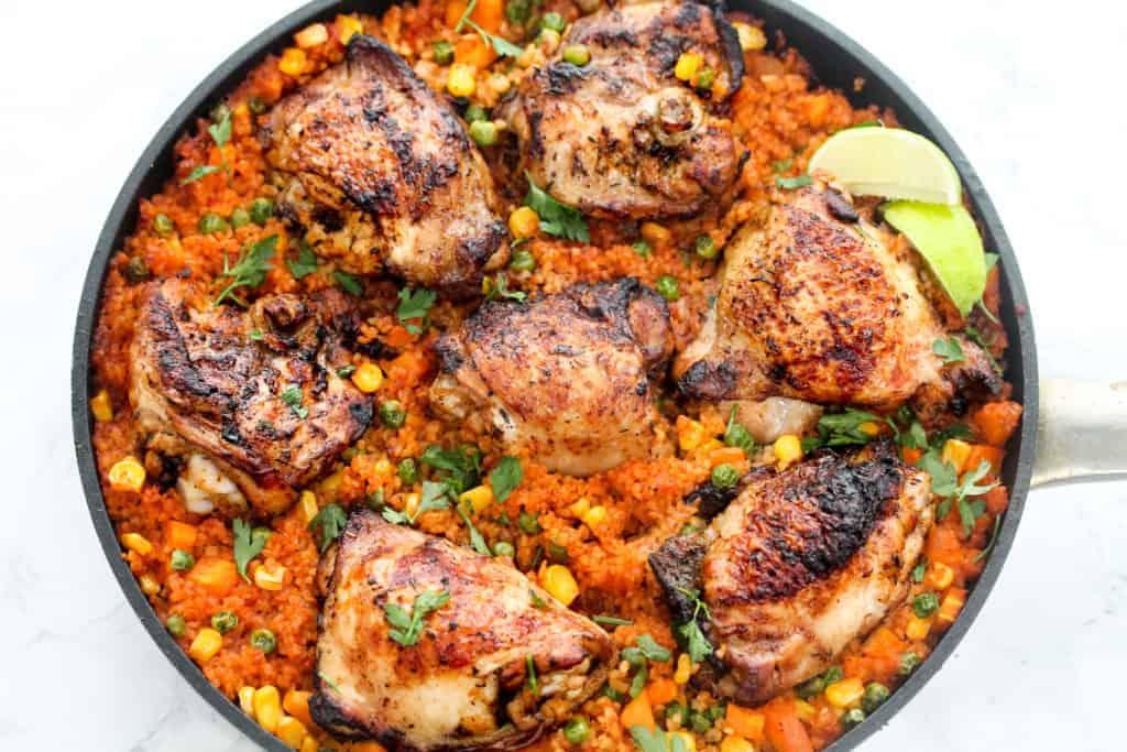 one-pan-peri-peri-chicken-and-tomato-bulgur-wheat a healthy lunch idea for meal prep