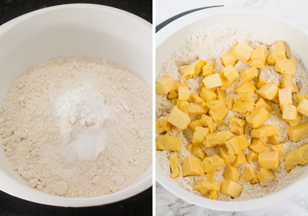 flour mixture and cold butter in a bowl