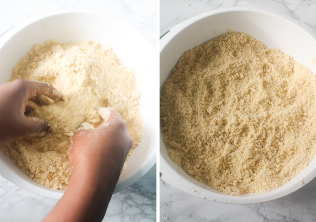flour mixture and cold butter rubbed into a breadcrumb texture