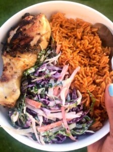 Jollof rice with chicken and coleslaw