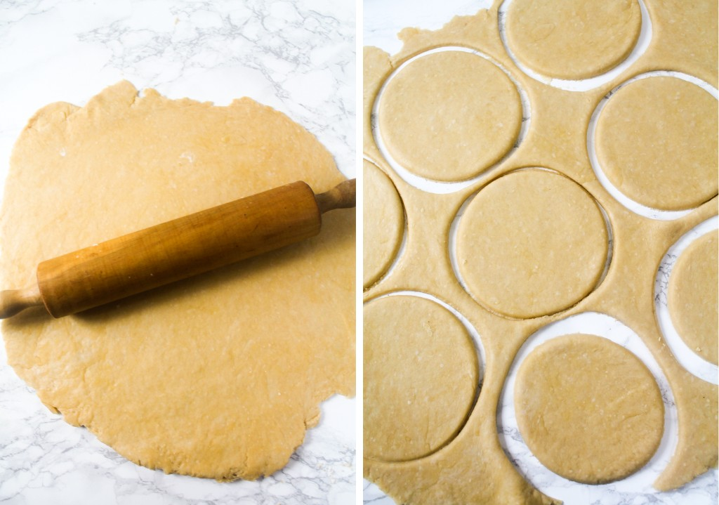 kneaded pastry with a rolling pin with circular discs cut out