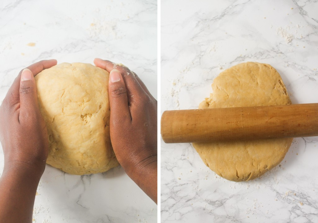 kneaded pastry with a rolling pin