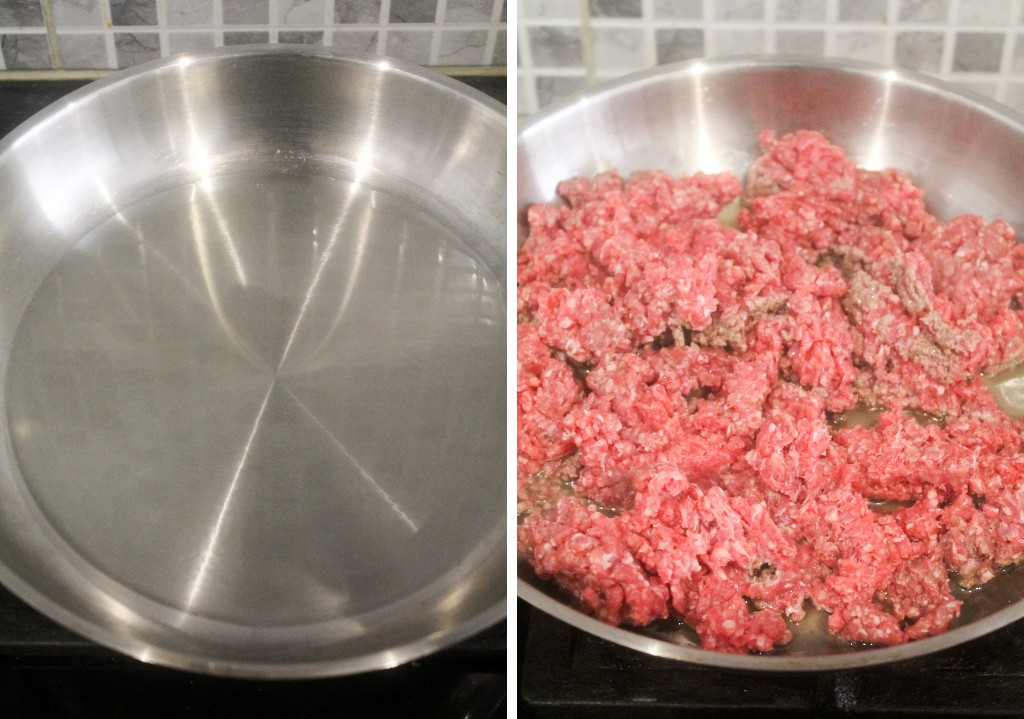 minced beef browning in a pan