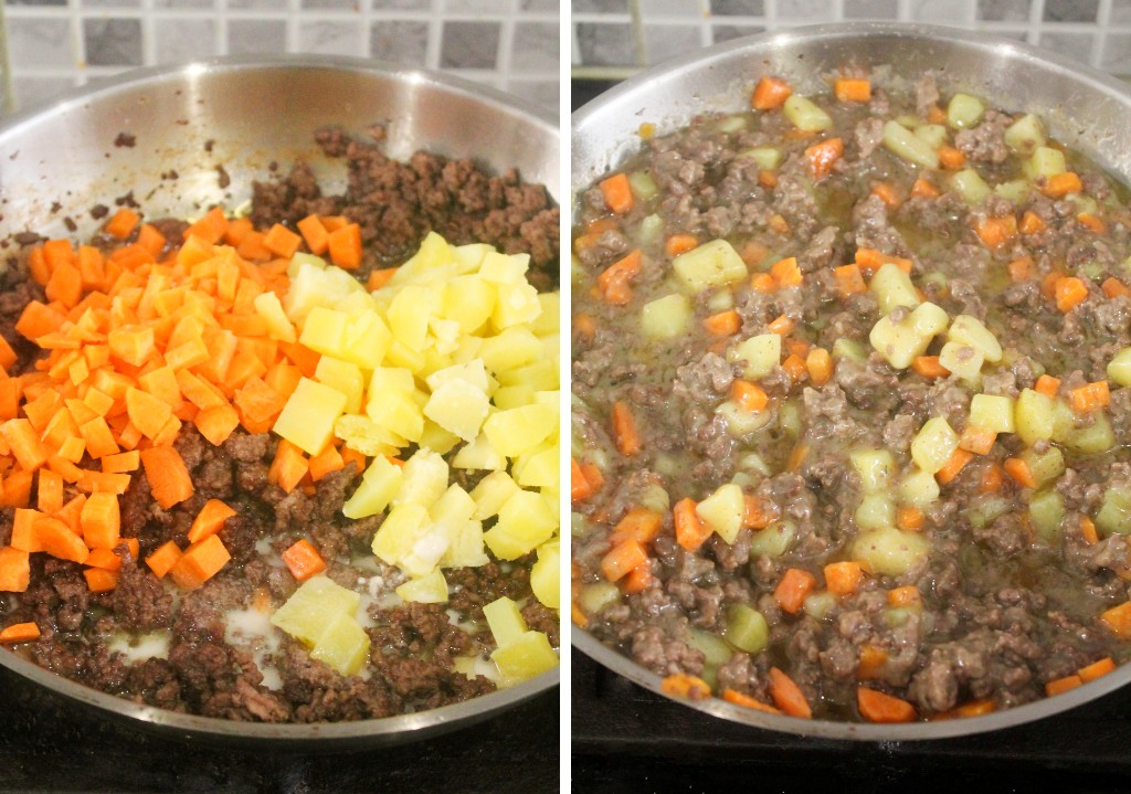 minced beef, carrots, potatoes and flour mixture