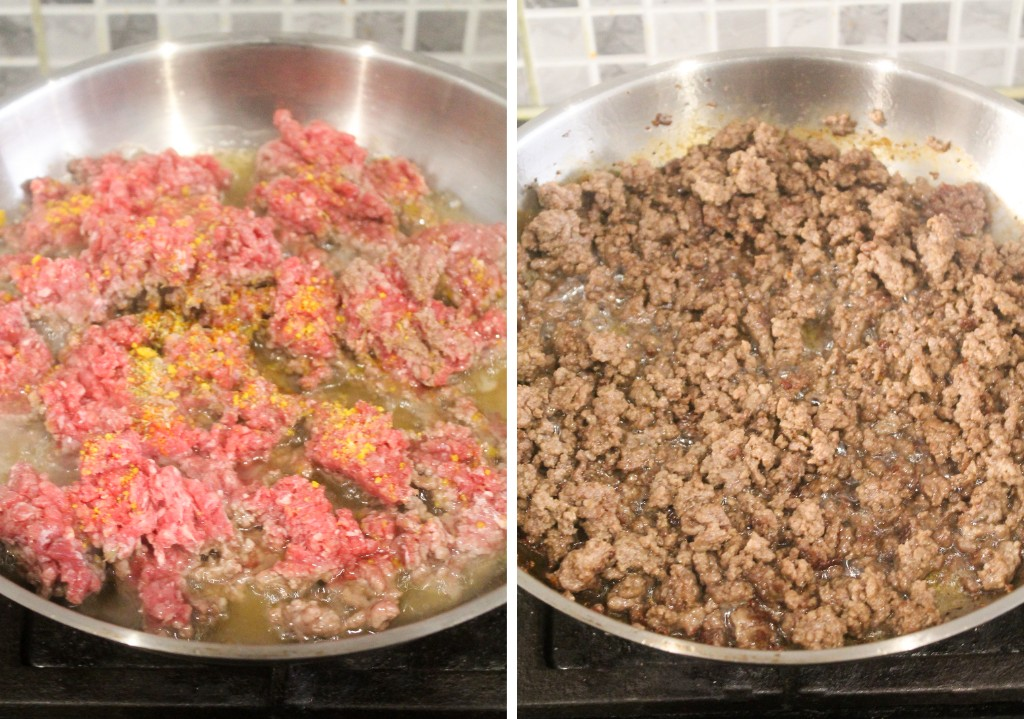 seasoned and browned minced beef