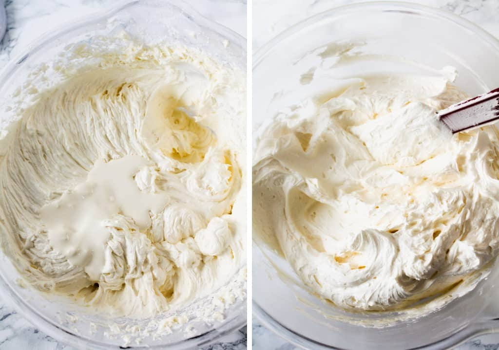 vanilla buttercream frosting, whipped cream and vanilla