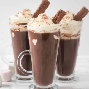 three glasses of homemade hot chocolate