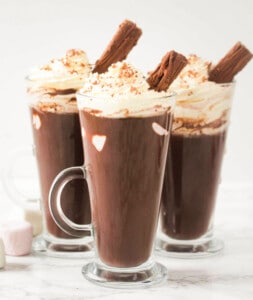 hot chocolate with marshmallows and whipped cream