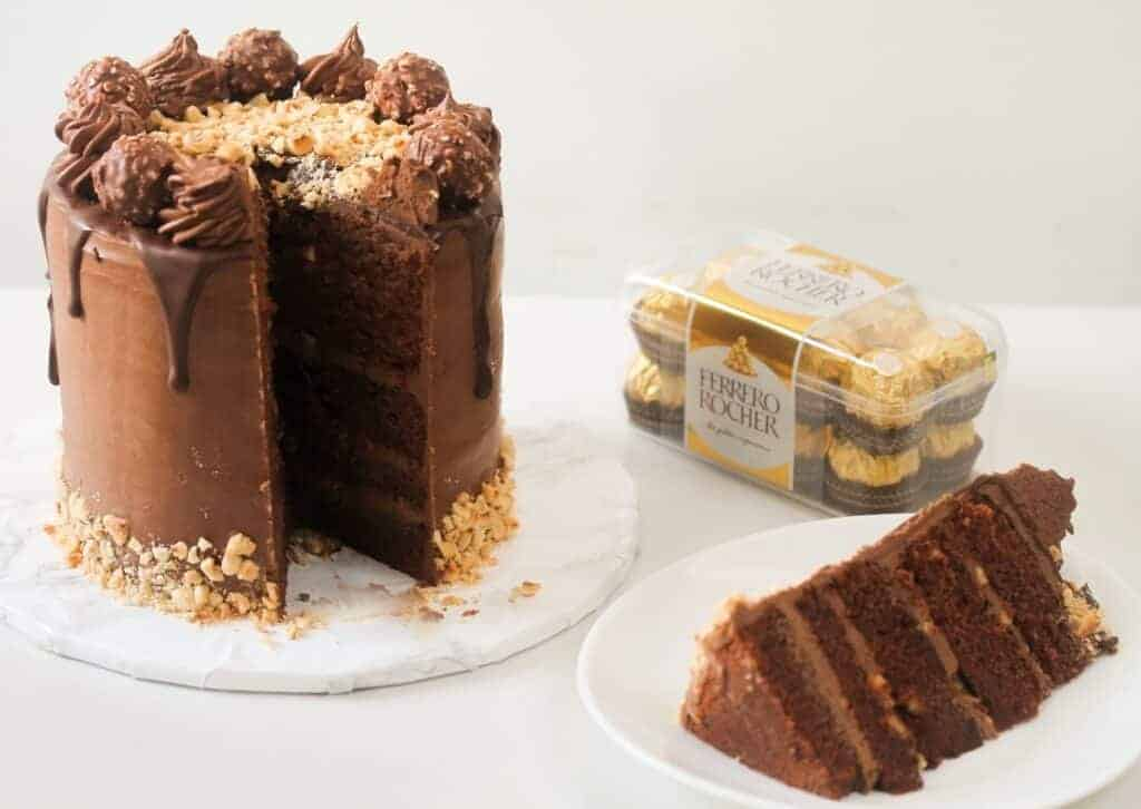 Ferrero Rocher cake, a slice and Ferrero Rocher
