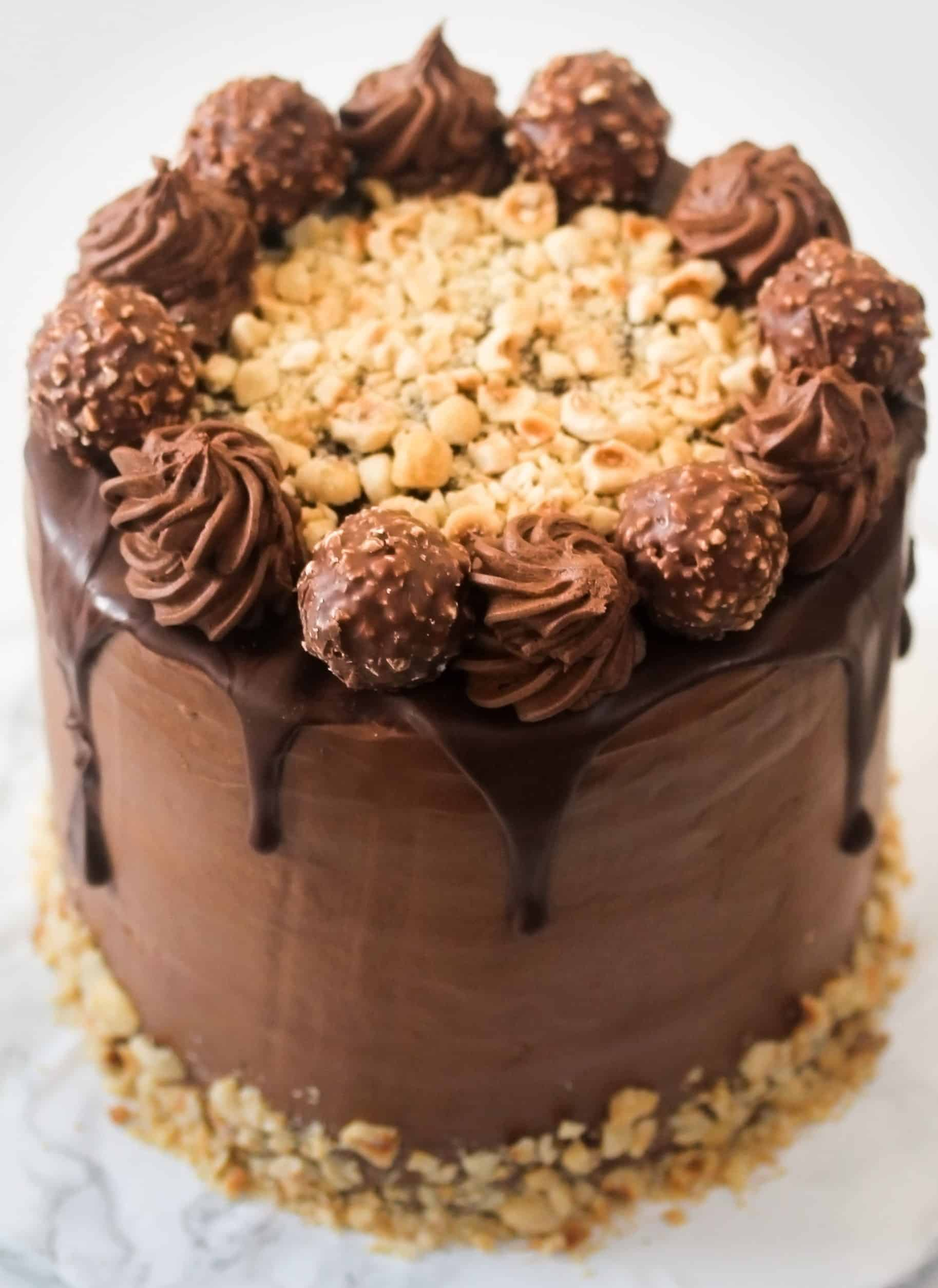 Ferrero Rocher cake close up