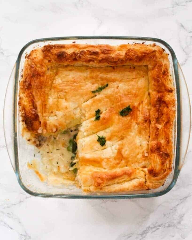 leftover turkey pie in an ovenproof dish