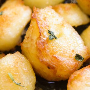 The best roasted potatoes served on a plate
