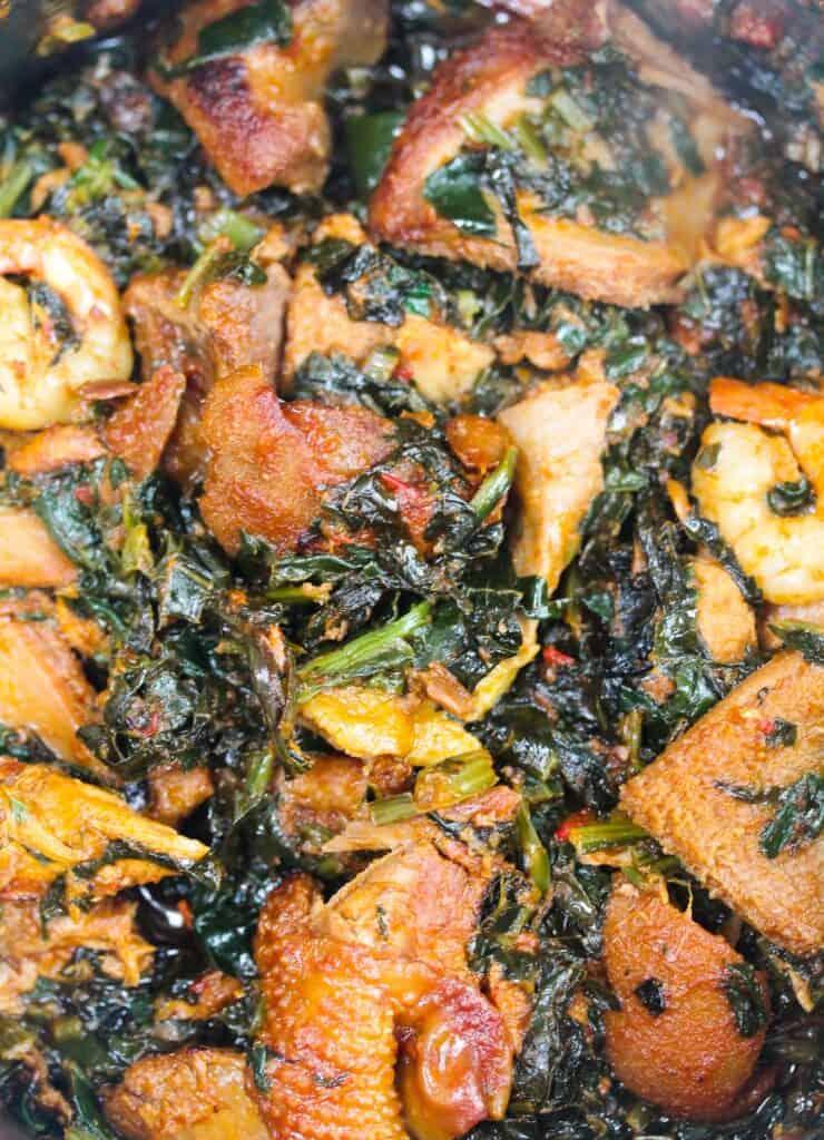 efo riro close with chicken, shaki, shrimp and beef