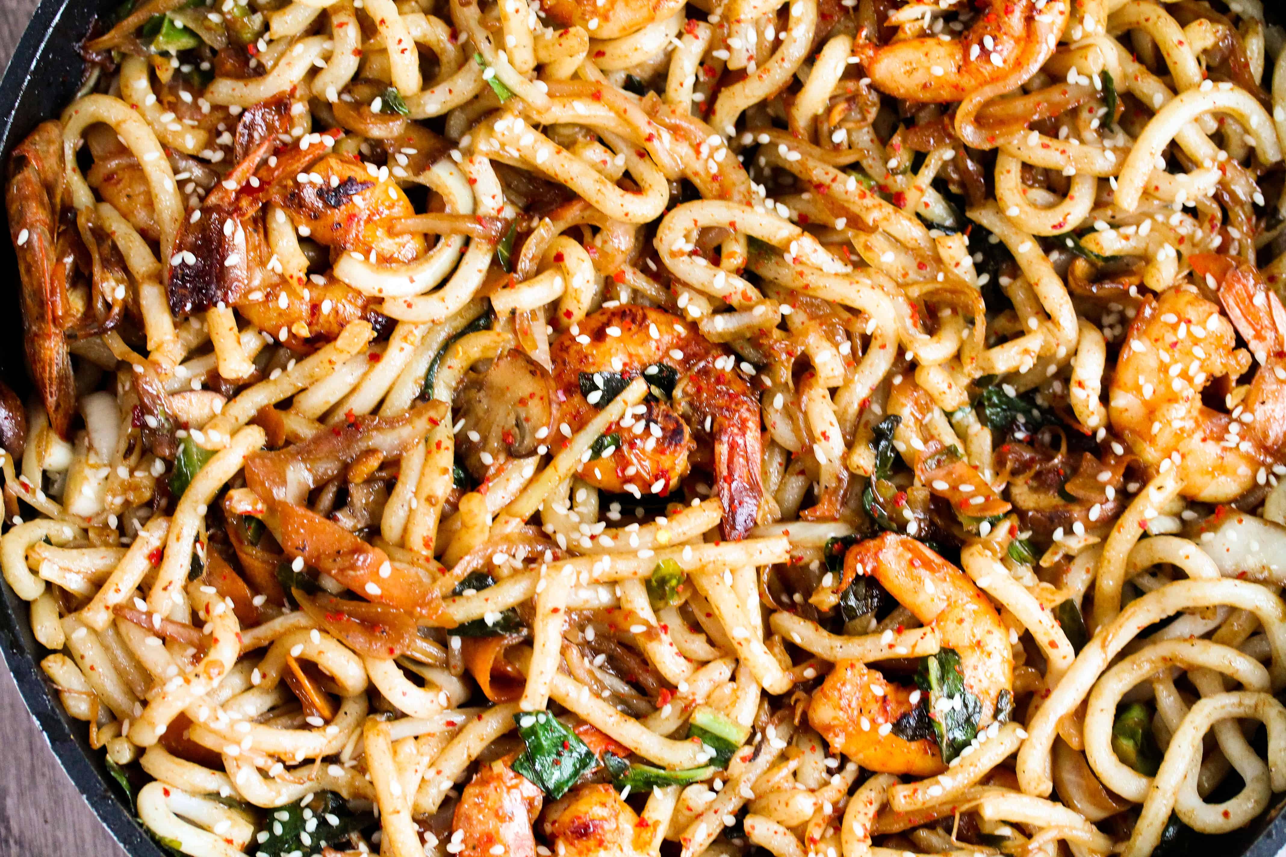 shrimp yaki udon in a pan