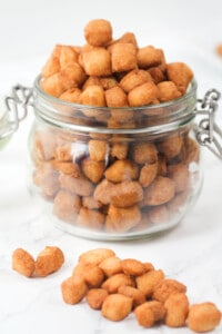 African chin chin in an airtight jar and on a table