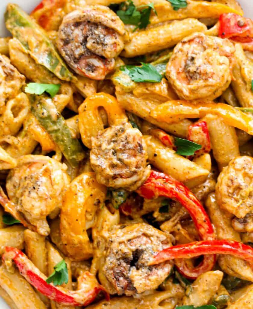 Easy shrimp Rasta pasta close-up