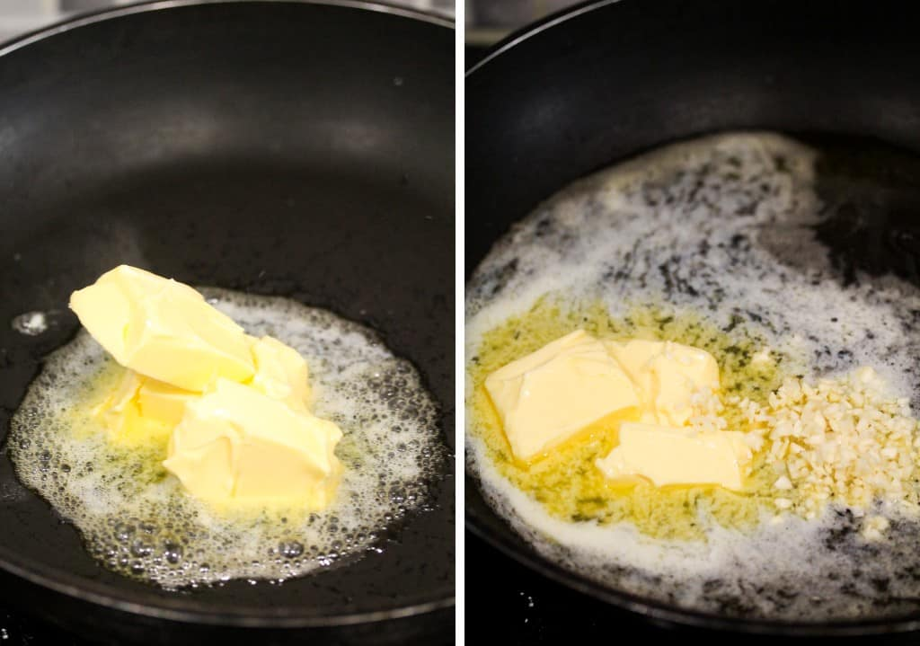 butter and chopped garlic in an oven proof pan