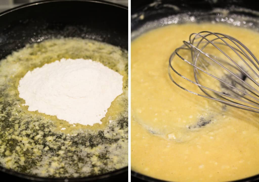 butter and flour in a pan