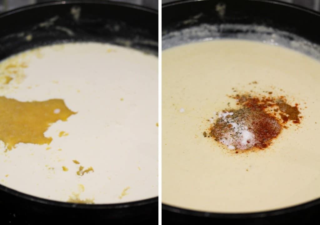 butter, milk, cream and seasoning in pan