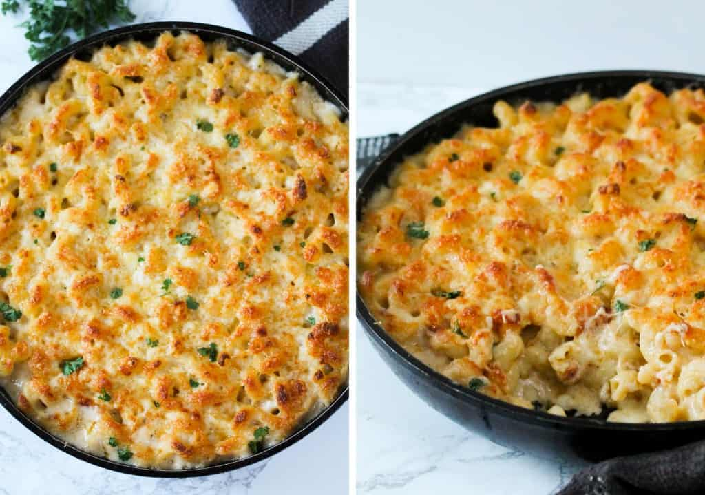 crab mac and cheese in a heat proof pan