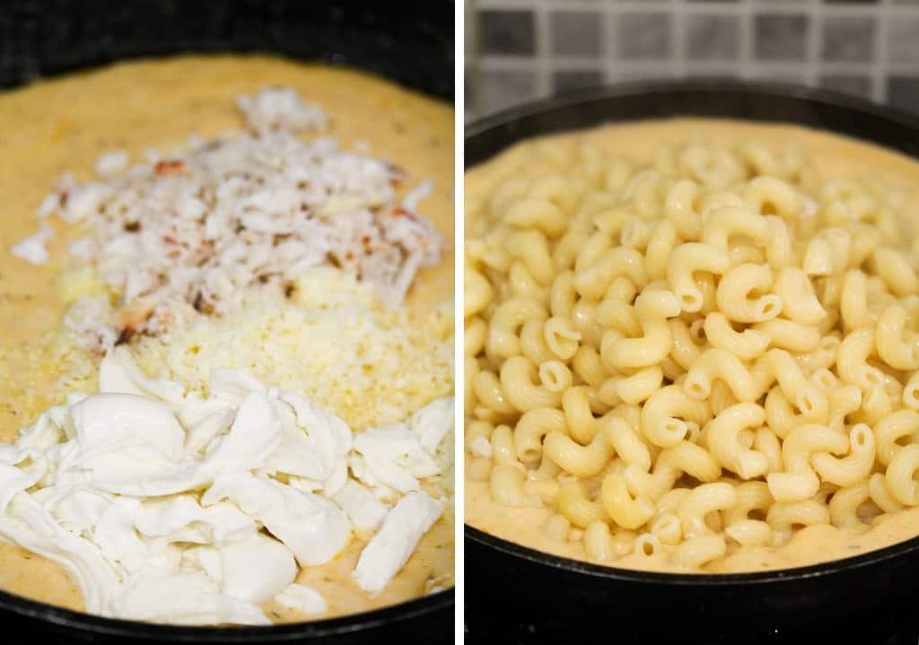 creamy sauce with crab, cheddar, mozzarella and macaroni