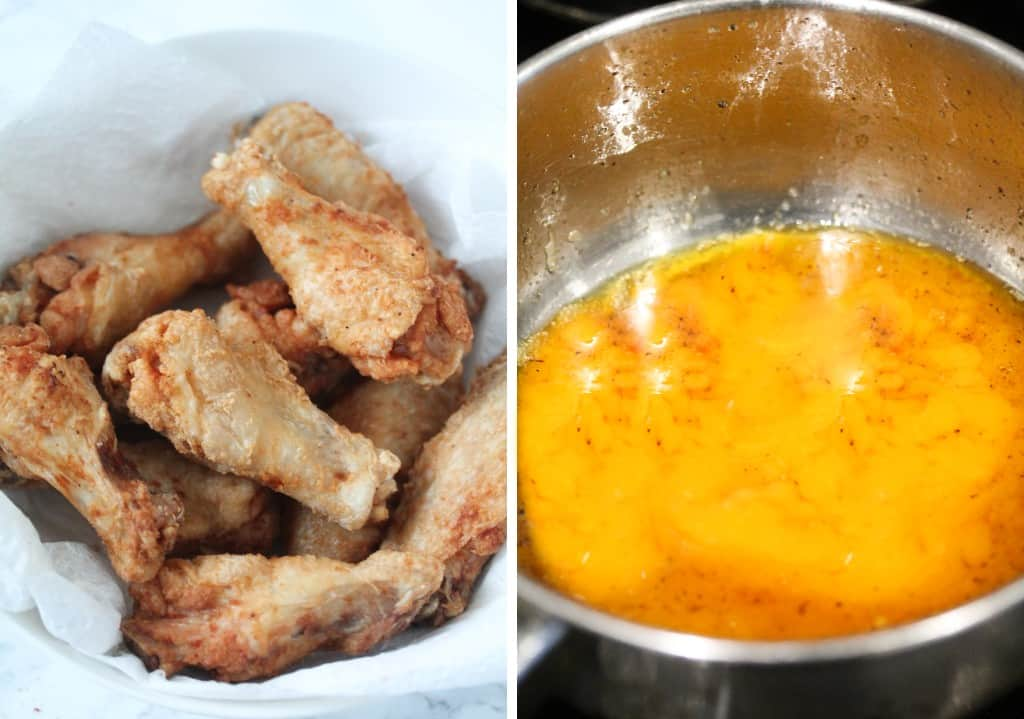 fried crispy chicken wings and mango habanero sauce