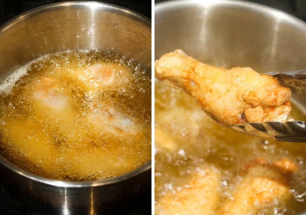 fried crispy chicken wings in hot oil