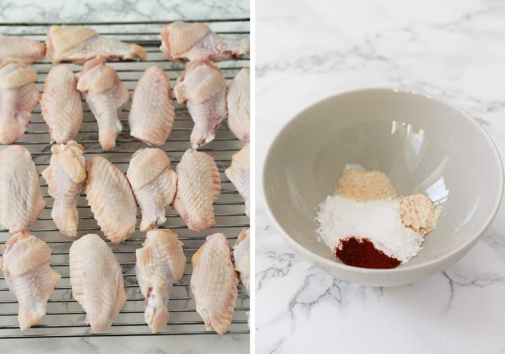 uncooked chicken wings and spices