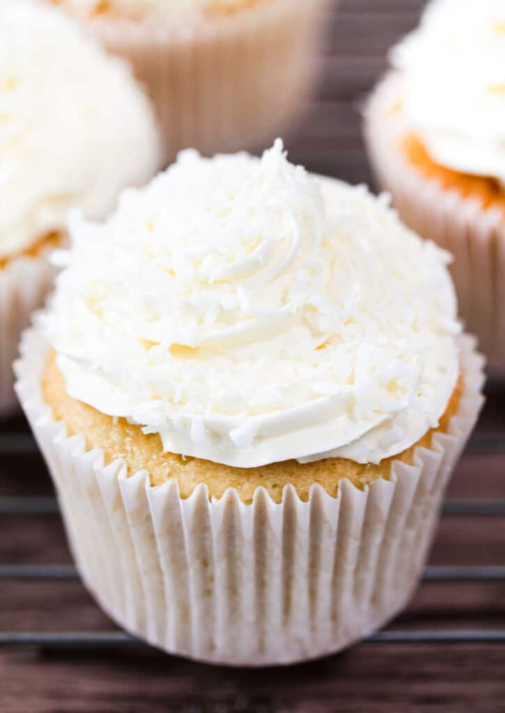 coconut cupcakes with desiccated coconut