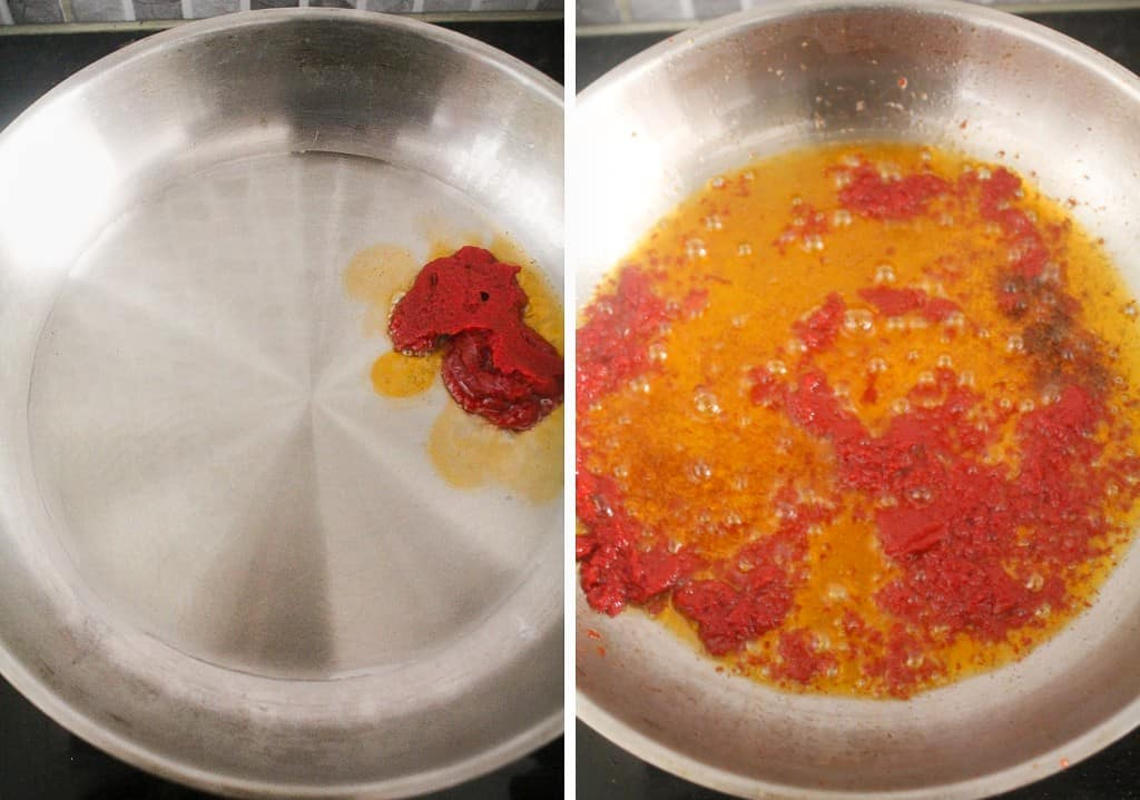 cook tomato paste in hot oil for 1 minute