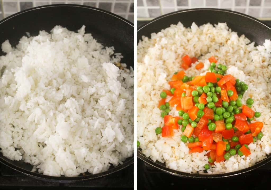 cooked rice and vegetables