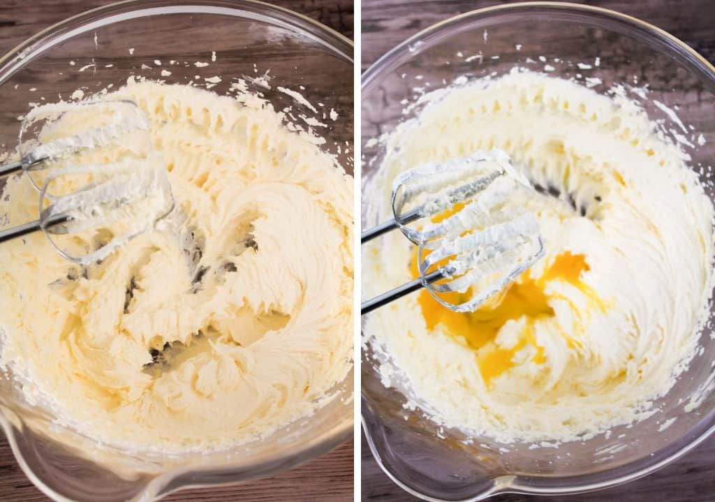 creamed butter and eggs