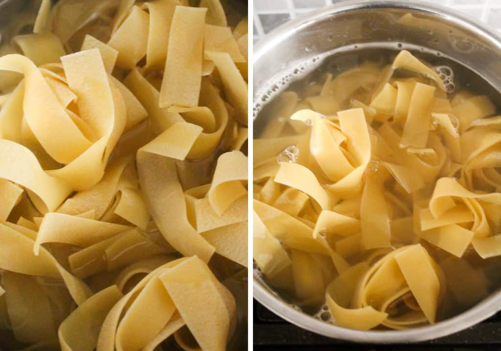 pappardelle pasta cooked in pot