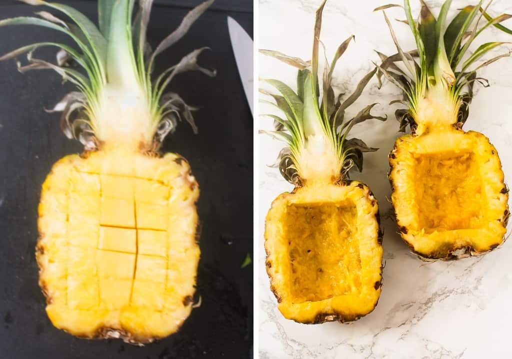 pineapple flesh removed to make pineapple bowl