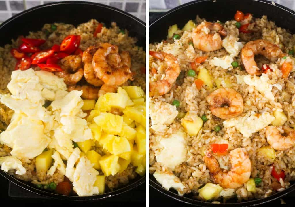 pineapple fried rice with in a pan