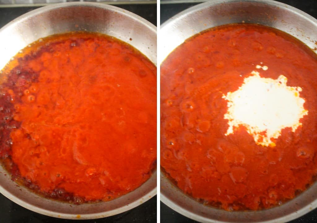 red pepper mixture and double cream