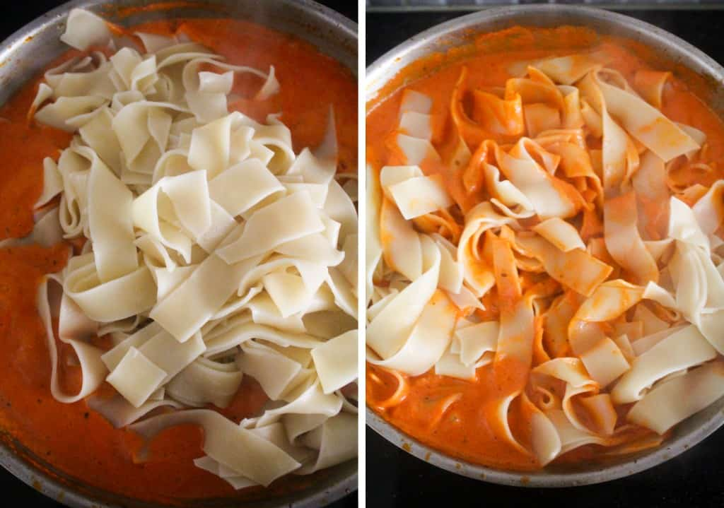red pepper mixture and pappardelle pasta