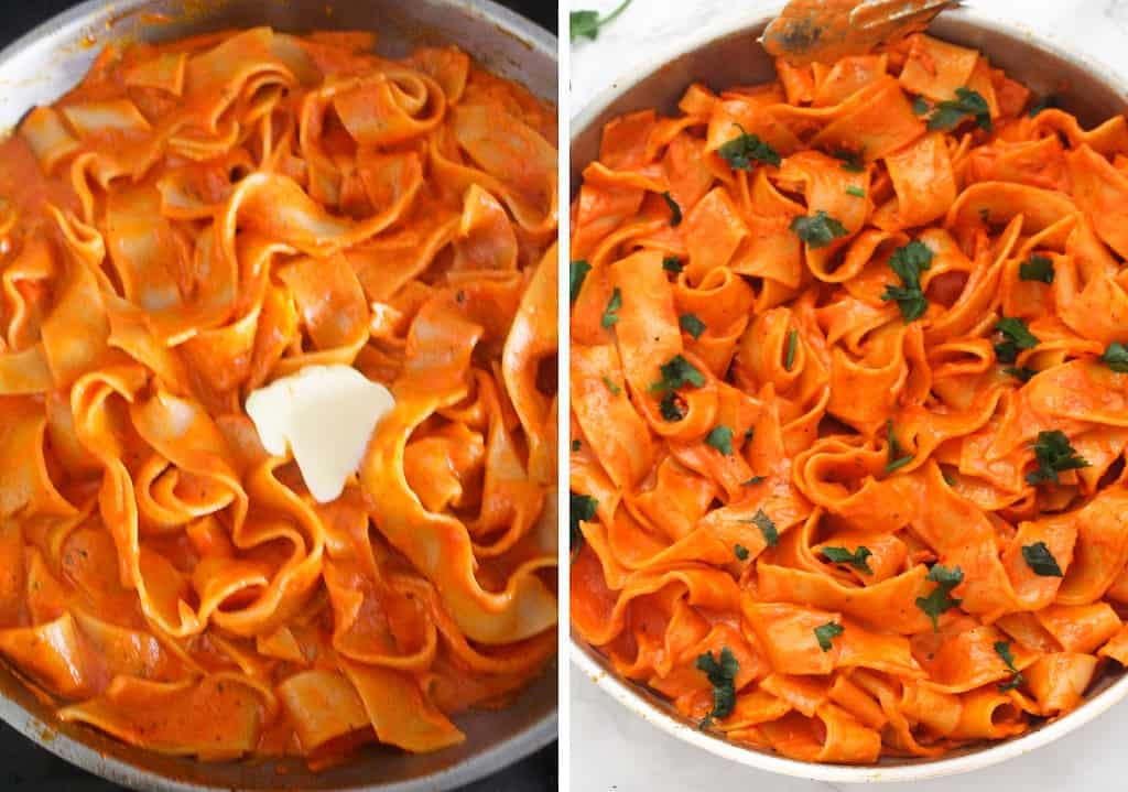 red pepper pappardelle pasta with butter