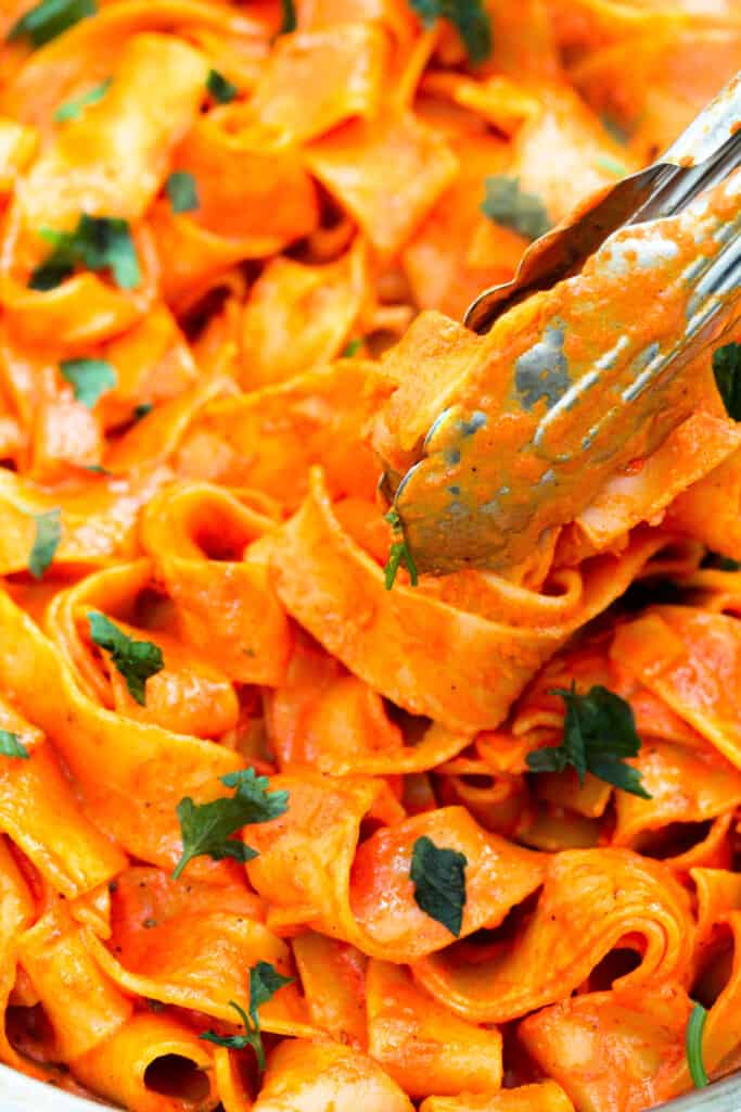 red pepper pappardelle close up