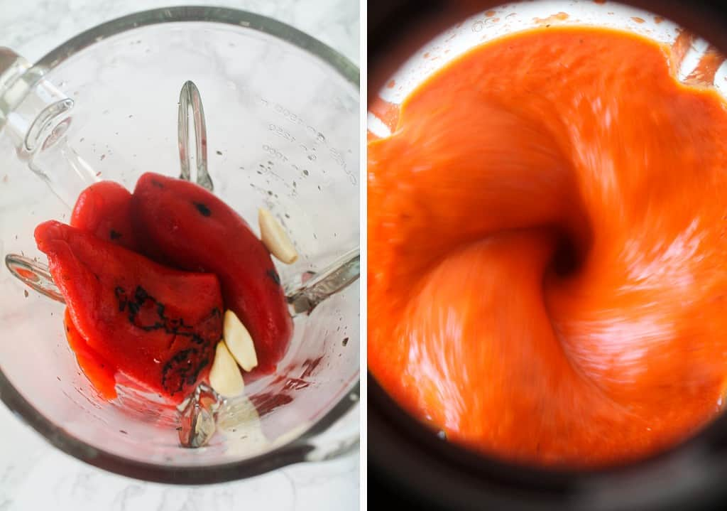 roasted red peppers and garlic in a blender