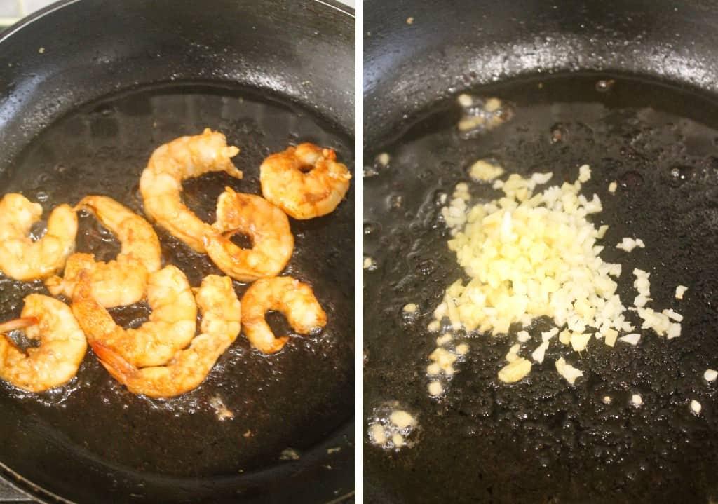 shrimp and chopped garlic