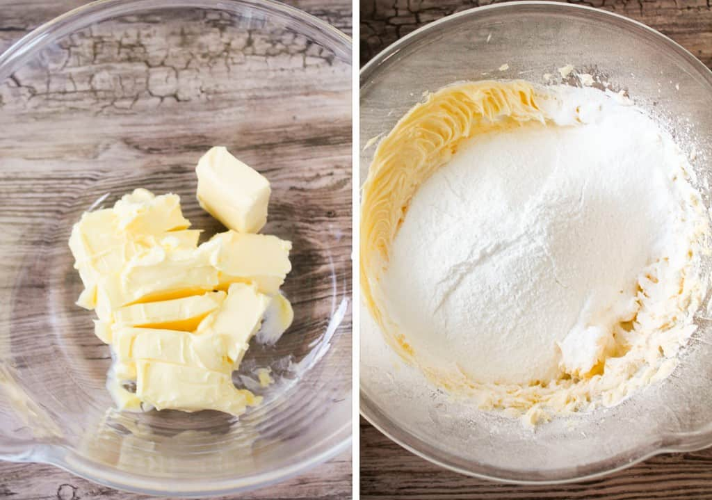 unsalted butter and icing sugar